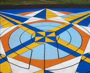 Jay Stream Middle School labyrinth, fort-nine feet in diameter, created by 800 middle school students in four days