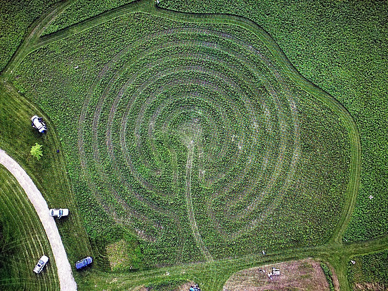 Lakeview Prairie Labyrinth 230' diameter. Mown prairie grass labyrinth with processional